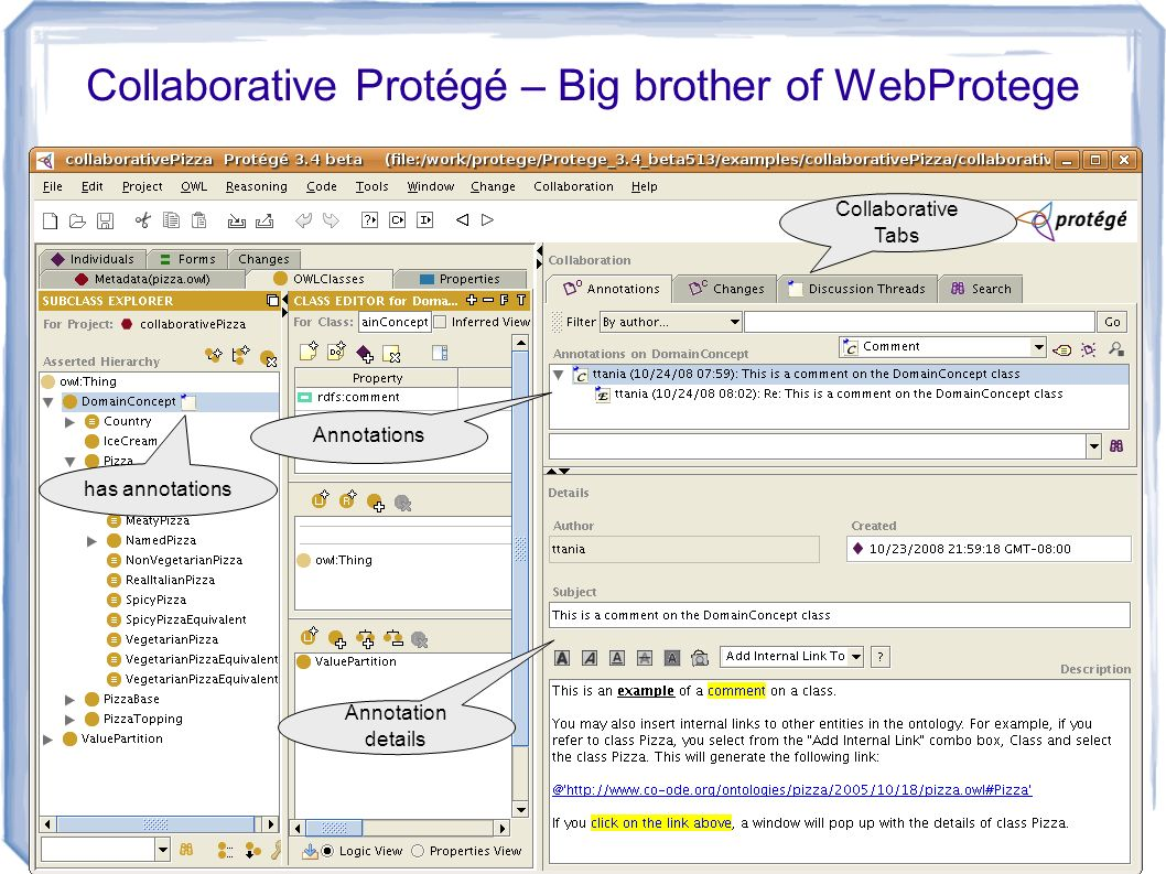 4 has annotations Annotations Annotation details Collaborative Tabs Collaborative Protégé – Big brother of WebProtege