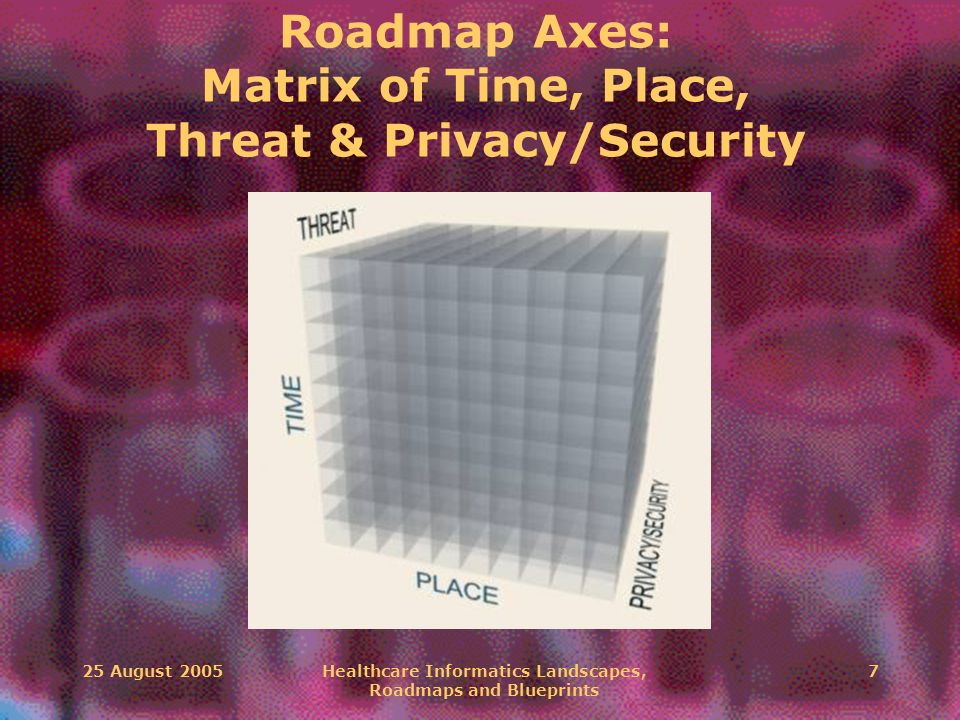 25 August 2005Healthcare Informatics Landscapes, Roadmaps and Blueprints 7 Roadmap Axes: Matrix of Time, Place, Threat & Privacy/Security