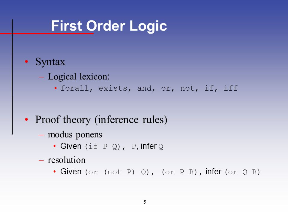 5 First Order Logic Syntax –Logical lexicon : forall, exists, and, or, not, if, iff Proof theory (inference rules) –modus ponens Given (if P Q), P, infer Q –resolution Given (or (not P) Q), (or P R), infer (or Q R)