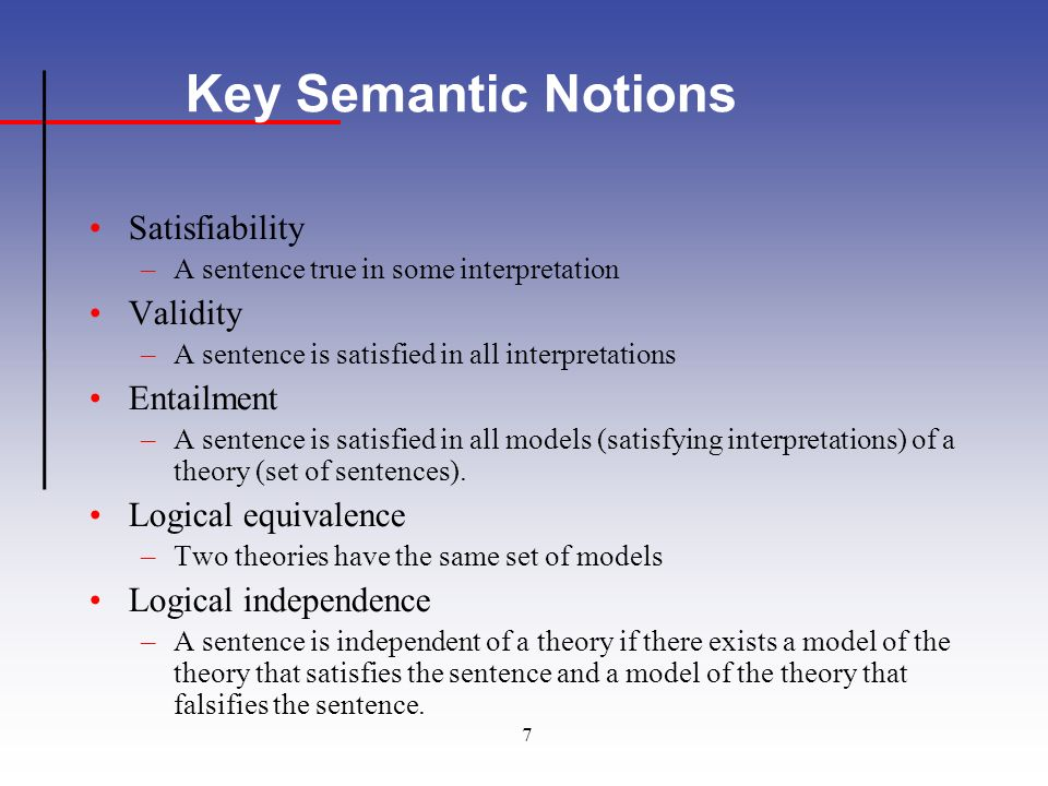 7 Key Semantic Notions Satisfiability –A sentence true in some interpretation Validity –A sentence is satisfied in all interpretations Entailment –A sentence is satisfied in all models (satisfying interpretations) of a theory (set of sentences).