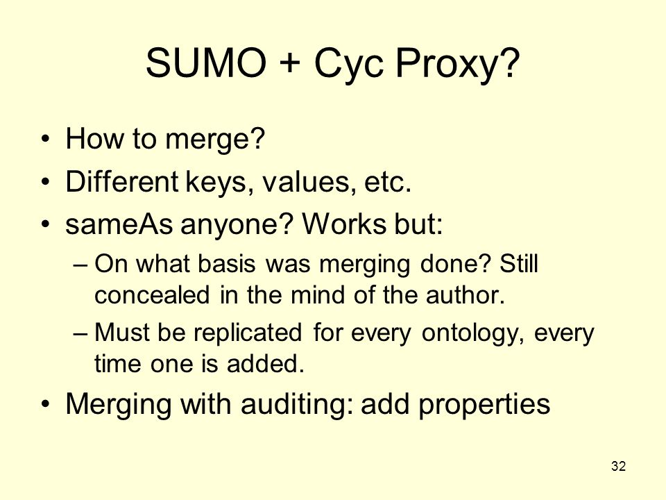 32 SUMO + Cyc Proxy. How to merge. Different keys, values, etc.