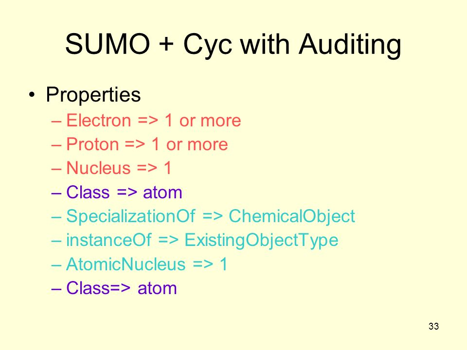 33 SUMO + Cyc with Auditing Properties –Electron => 1 or more –Proton => 1 or more –Nucleus => 1 –Class => atom –SpecializationOf => ChemicalObject –instanceOf => ExistingObjectType –AtomicNucleus => 1 –Class=> atom