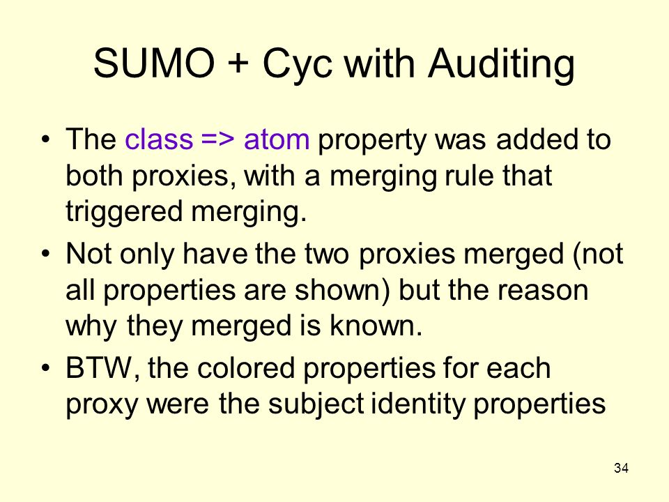 34 SUMO + Cyc with Auditing The class => atom property was added to both proxies, with a merging rule that triggered merging.