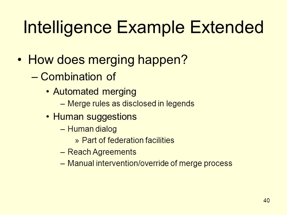40 Intelligence Example Extended How does merging happen.