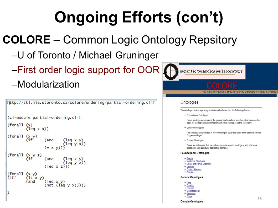18 Ongoing Efforts (cont) COLORE – Common Logic Ontology Repsitory –U of Toronto / Michael Gruninger –First order logic support for OOR –Modularization 18