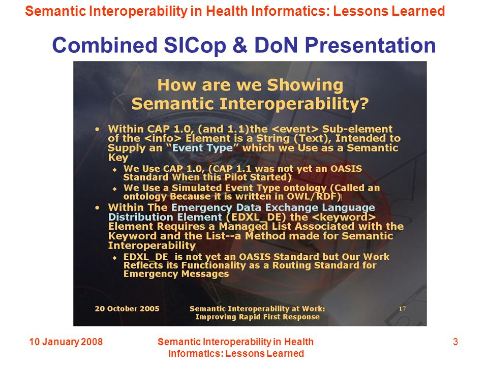Semantic Interoperability in Health Informatics: Lessons Learned 10 January 2008Semantic Interoperability in Health Informatics: Lessons Learned 3 Combined SICop & DoN Presentation
