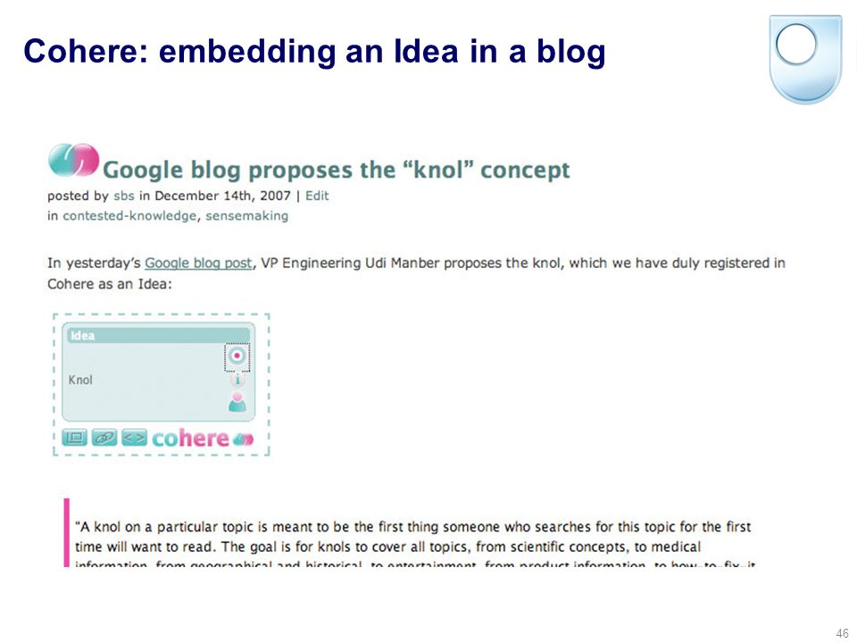 © Simon Buckingham Shum 45 Cohere: creating a new Idea for Googles Knol, linked to a website