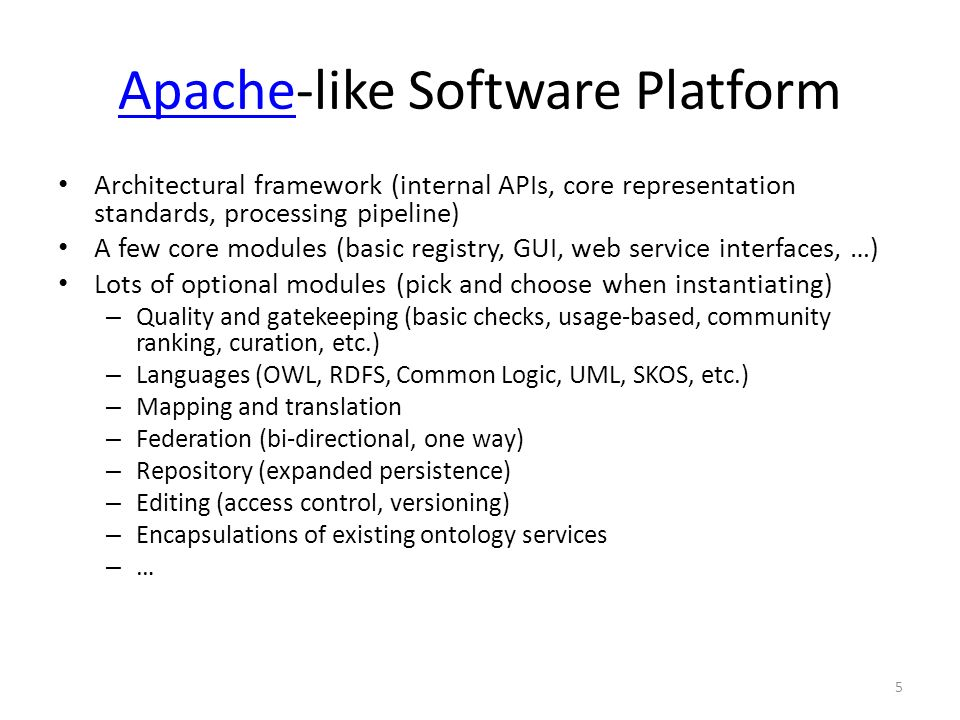 5 ApacheApache-like Software Platform Architectural framework (internal APIs, core representation standards, processing pipeline) A few core modules (basic registry, GUI, web service interfaces, …) Lots of optional modules (pick and choose when instantiating) – Quality and gatekeeping (basic checks, usage-based, community ranking, curation, etc.) – Languages (OWL, RDFS, Common Logic, UML, SKOS, etc.) – Mapping and translation – Federation (bi-directional, one way) – Repository (expanded persistence) – Editing (access control, versioning) – Encapsulations of existing ontology services – …