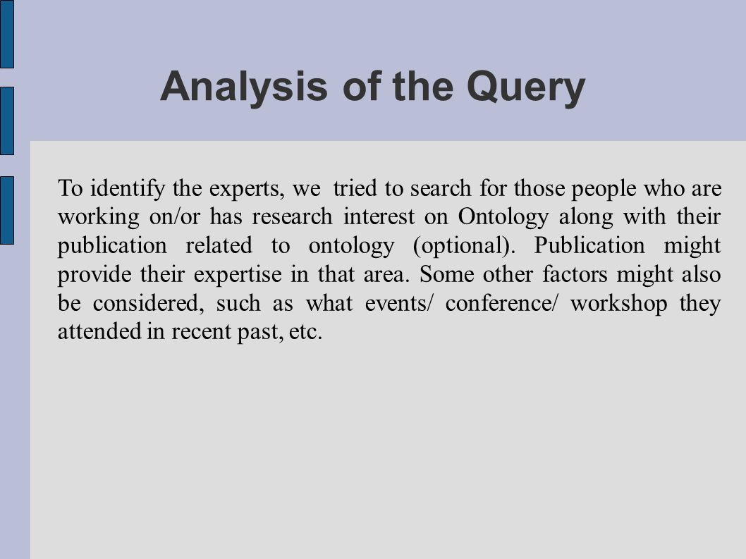 Analysis of the Query To identify the experts, we tried to search for those people who are working on/or has research interest on Ontology along with their publication related to ontology (optional).