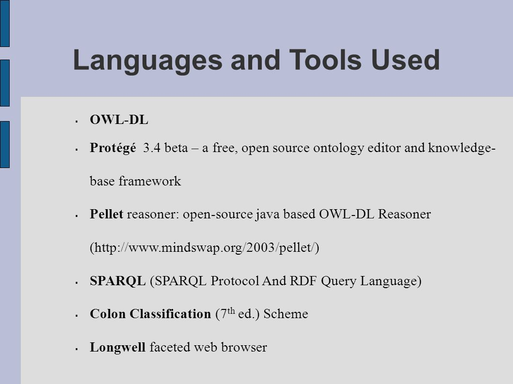 Languages and Tools Used OWL-DL Protégé 3.4 beta – a free, open source ontology editor and knowledge- base framework Pellet reasoner: open-source java based OWL-DL Reasoner (http://www.mindswap.org/2003/pellet/) SPARQL (SPARQL Protocol And RDF Query Language) Colon Classification (7 th ed.) Scheme Longwell faceted web browser