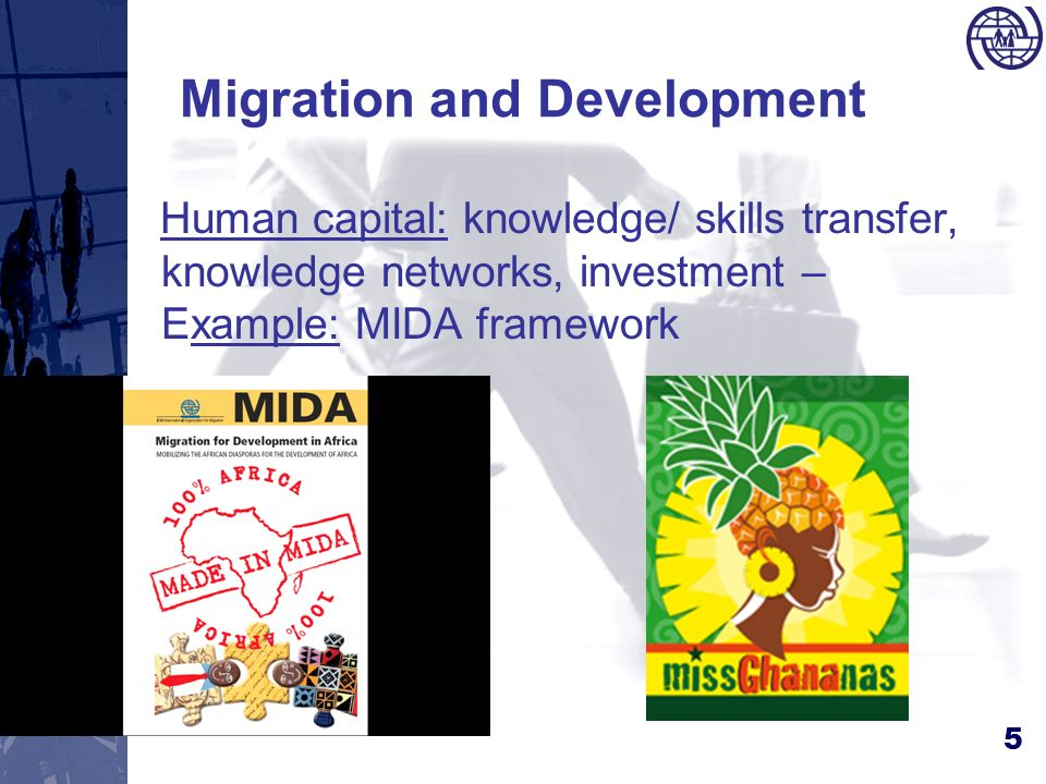 5 Migration and Development Human capital: knowledge/ skills transfer, knowledge networks, investment – Example: MIDA framework