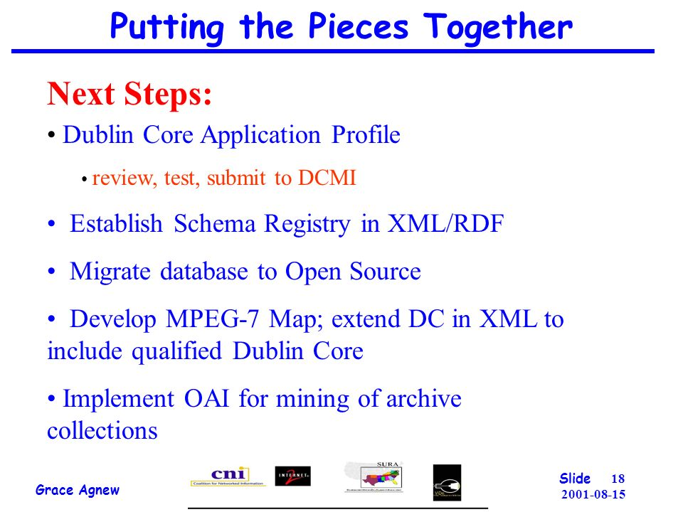 Putting the Pieces Together Grace Agnew Slide Next Steps: Dublin Core Application Profile review, test, submit to DCMI Establish Schema Registry in XML/RDF Migrate database to Open Source Develop MPEG-7 Map; extend DC in XML to include qualified Dublin Core Implement OAI for mining of archive collections
