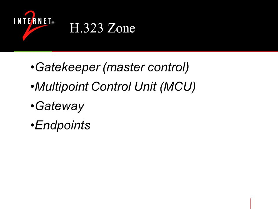 H.323 Standard Gatekeeper required functions Address translation Admissions control Bandwidth control Zone management Optional functions Call control signaling Call authorization Bandwidth management Call management