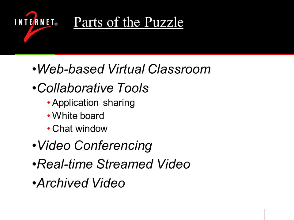 Digital Video In The Educational Environment Classroom presentations- need for video clips Colloquiums- need to broadcast on the network Homework Assignments- Video-based reference material Collaborative classes- need for remote interaction between class participants Committee meetings- need for remote interaction between participants Informal collaboration- need for remote interaction between colleagues Conference presentations- need for remote interaction between presenters and audience