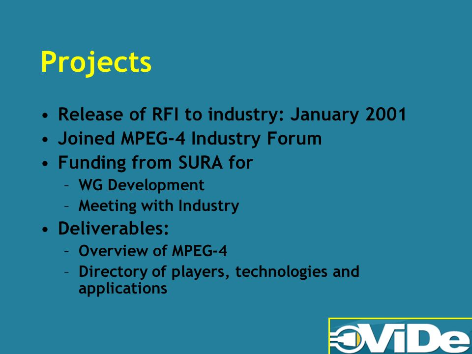 Projects Release of RFI to industry: January 2001 Joined MPEG-4 Industry Forum Funding from SURA for –WG Development –Meeting with Industry Deliverables: –Overview of MPEG-4 –Directory of players, technologies and applications