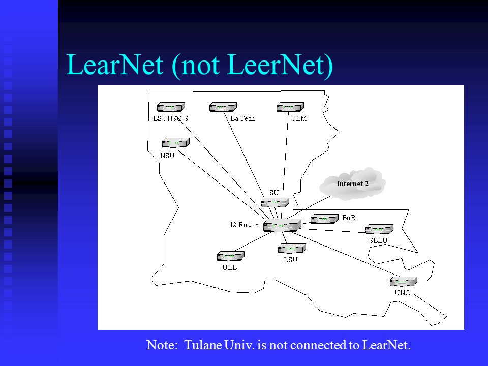 LearNet (not LeerNet) Note: Tulane Univ. is not connected to LearNet.