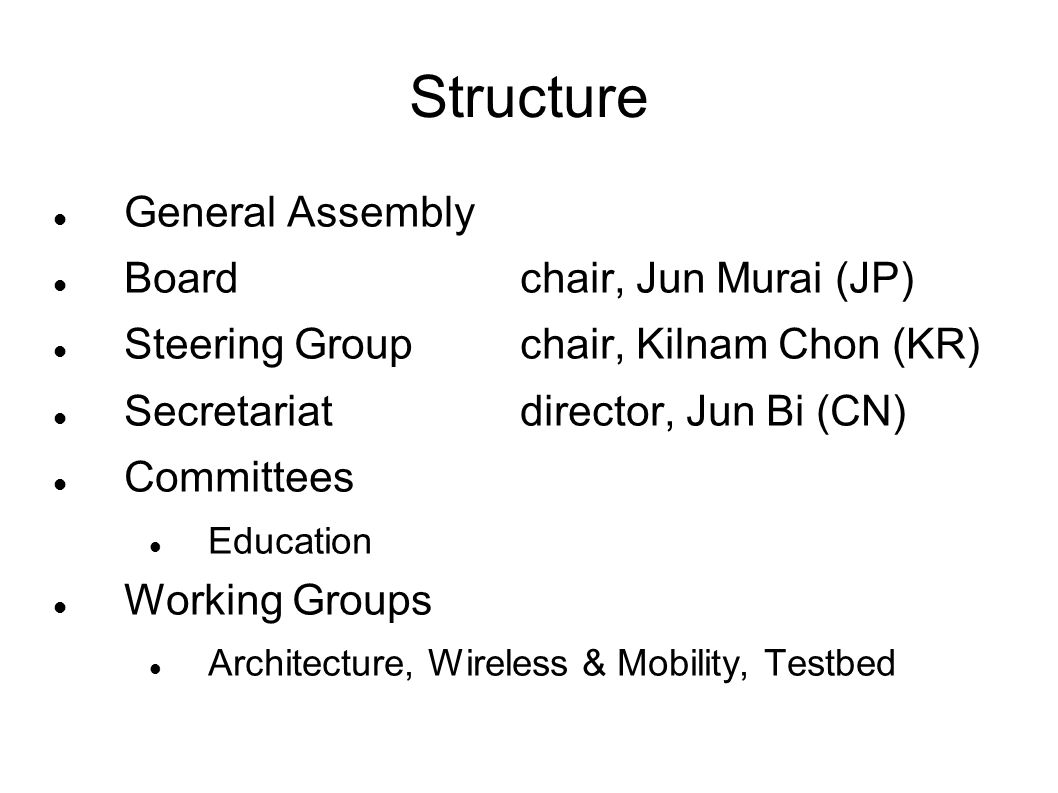 Structure General Assembly Boardchair, Jun Murai (JP) Steering Groupchair, Kilnam Chon (KR) Secretariatdirector, Jun Bi (CN) Committees Education Working Groups Architecture, Wireless & Mobility, Testbed