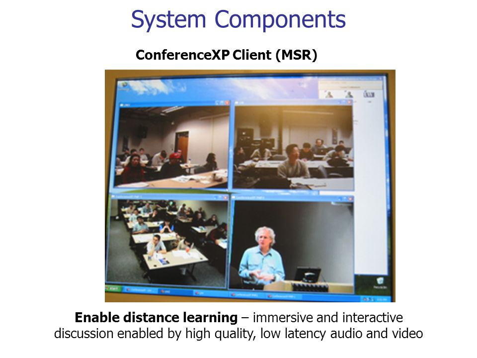 System Components ConferenceXP Client (MSR) Enable distance learning – immersive and interactive discussion enabled by high quality, low latency audio and video