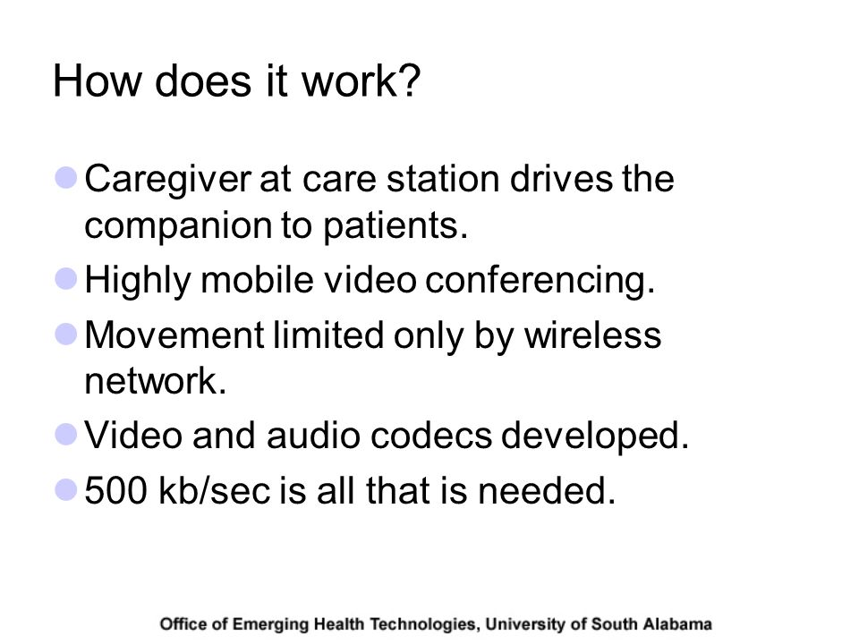How does it work. Caregiver at care station drives the companion to patients.