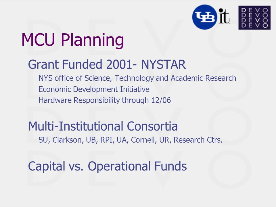 MCU Planning Grant Funded 2001- NYSTAR NYS office of Science, Technology and Academic Research Economic Development Initiative Hardware Responsibility through 12/06 Multi-Institutional Consortia SU, Clarkson, UB, RPI, UA, Cornell, UR, Research Ctrs.