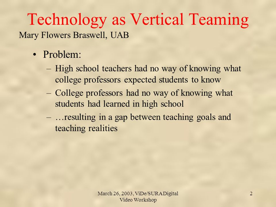 Mary Flowers Braswell, UAB March 26, 2003, ViDe/SURA Digital Video Workshop 2 Technology as Vertical Teaming Problem: –High school teachers had no way of knowing what college professors expected students to know –College professors had no way of knowing what students had learned in high school –…resulting in a gap between teaching goals and teaching realities