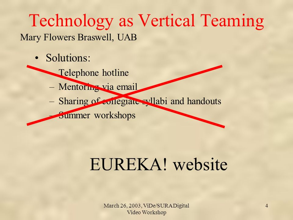 Mary Flowers Braswell, UAB March 26, 2003, ViDe/SURA Digital Video Workshop 4 Technology as Vertical Teaming Solutions: –Telephone hotline –Mentoring via email –Sharing of collegiate syllabi and handouts –Summer workshops EUREKA.
