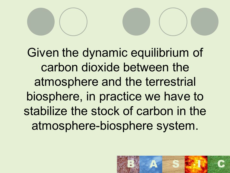 Given the dynamic equilibrium of carbon dioxide between the atmosphere and the terrestrial biosphere, in practice we have to stabilize the stock of carbon in the atmosphere-biosphere system.