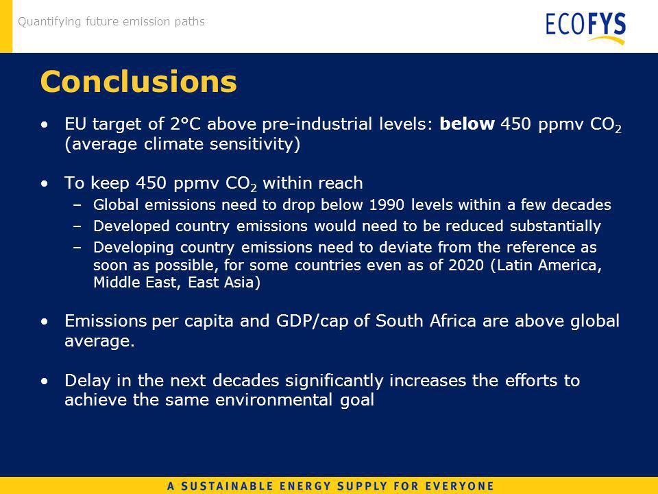 Quantifying future emission paths Conclusions EU target of 2°C above pre-industrial levels: below 450 ppmv CO 2 (average climate sensitivity) To keep 450 ppmv CO 2 within reach –Global emissions need to drop below 1990 levels within a few decades –Developed country emissions would need to be reduced substantially –Developing country emissions need to deviate from the reference as soon as possible, for some countries even as of 2020 (Latin America, Middle East, East Asia) Emissions per capita and GDP/cap of South Africa are above global average.