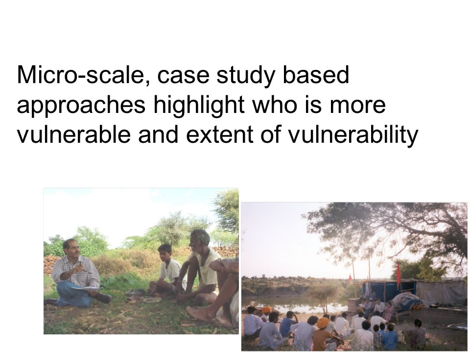 Micro-scale, case study based approaches highlight who is more vulnerable and extent of vulnerability