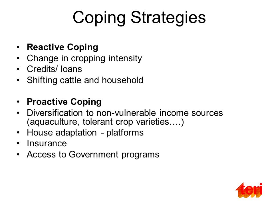 Coping Strategies Reactive Coping Change in cropping intensity Credits/ loans Shifting cattle and household Proactive Coping Diversification to non-vulnerable income sources (aquaculture, tolerant crop varieties….) House adaptation - platforms Insurance Access to Government programs