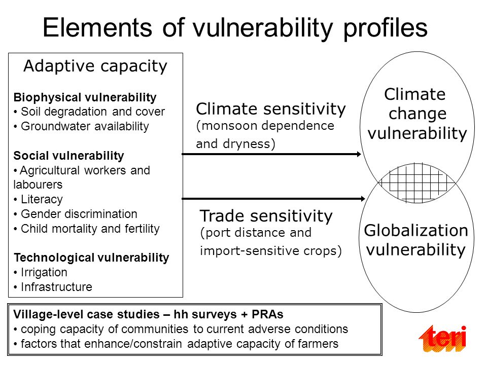 Elements of vulnerability profiles Adaptive capacity Biophysical vulnerability Soil degradation and cover Groundwater availability Social vulnerability Agricultural workers and labourers Literacy Gender discrimination Child mortality and fertility Technological vulnerability Irrigation Infrastructure Globalization vulnerability Climate change vulnerability Climate sensitivity (monsoon dependence and dryness) Trade sensitivity (port distance and import-sensitive crops) Village-level case studies – hh surveys + PRAs coping capacity of communities to current adverse conditions factors that enhance/constrain adaptive capacity of farmers