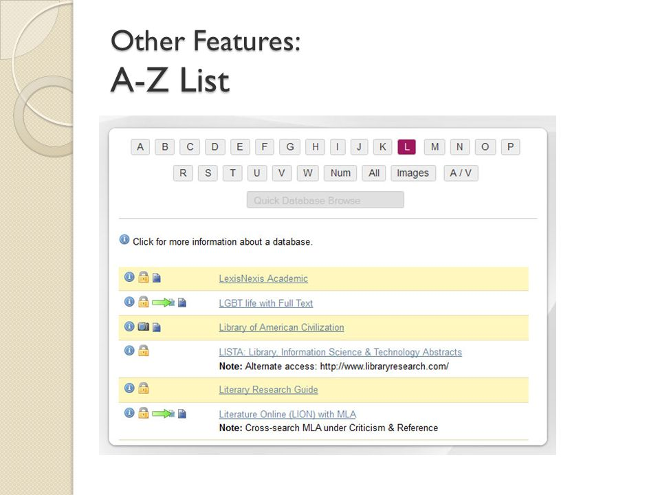 Other Features: A-Z List