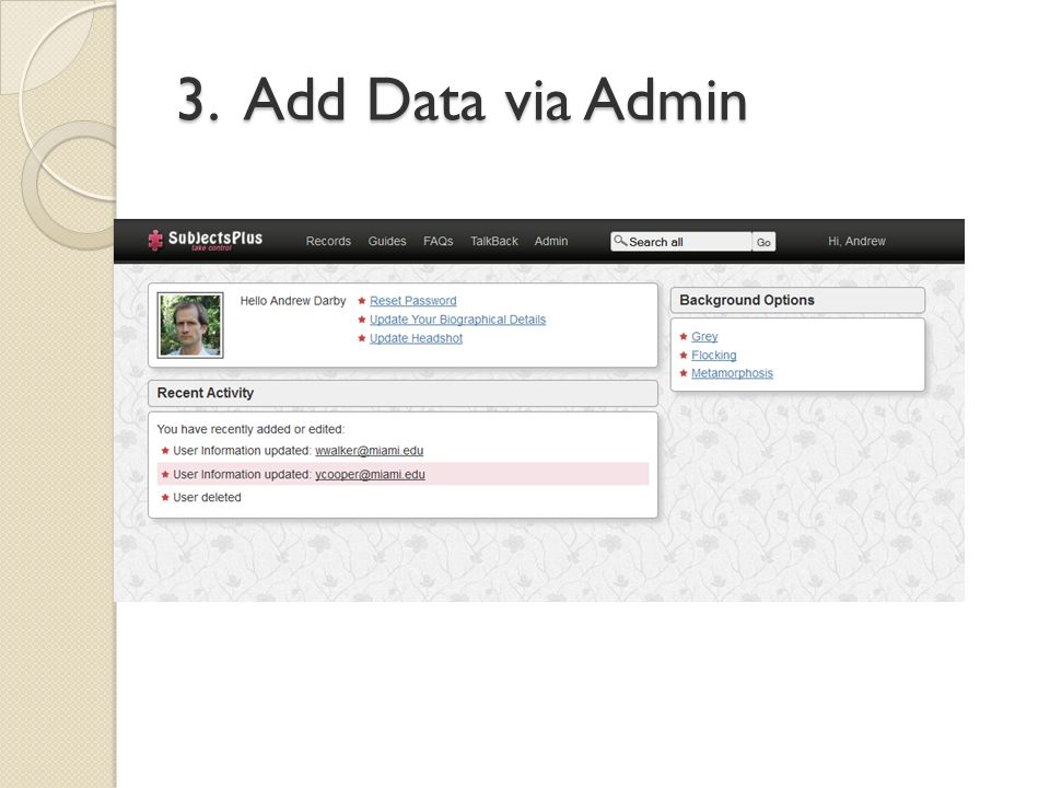 3. Add Data via Admin