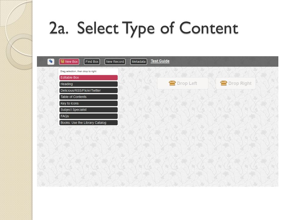 2a. Select Type of Content