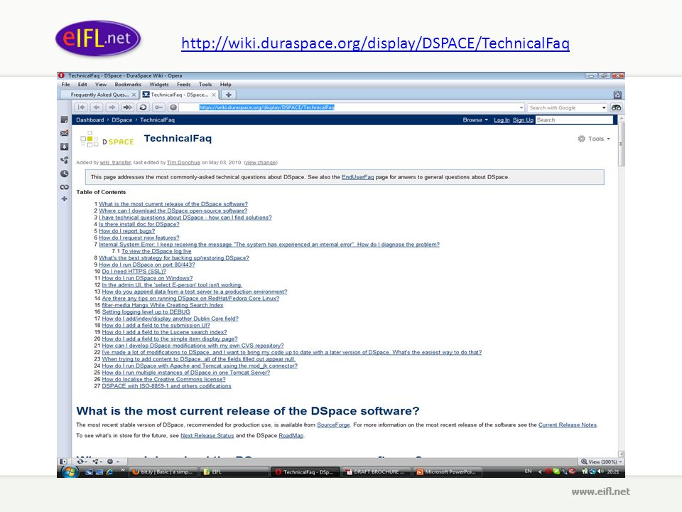 http://wiki.duraspace.org/display/DSPACE/TechnicalFaq