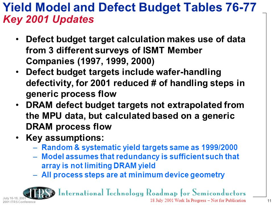 11 July 16-18, 2001 2001 ITRS Conference 18 July 2001 Work In Progress – Not for Publication Yield Model and Defect Budget Tables 76-77 Key 2001 Updates Defect budget target calculation makes use of data from 3 different surveys of ISMT Member Companies (1997, 1999, 2000) Defect budget targets include wafer-handling defectivity, for 2001 reduced # of handling steps in generic process flow DRAM defect budget targets not extrapolated from the MPU data, but calculated based on a generic DRAM process flow Key assumptions: –Random & systematic yield targets same as 1999/2000 –Model assumes that redundancy is sufficient such that array is not limiting DRAM yield –All process steps are at minimum device geometry