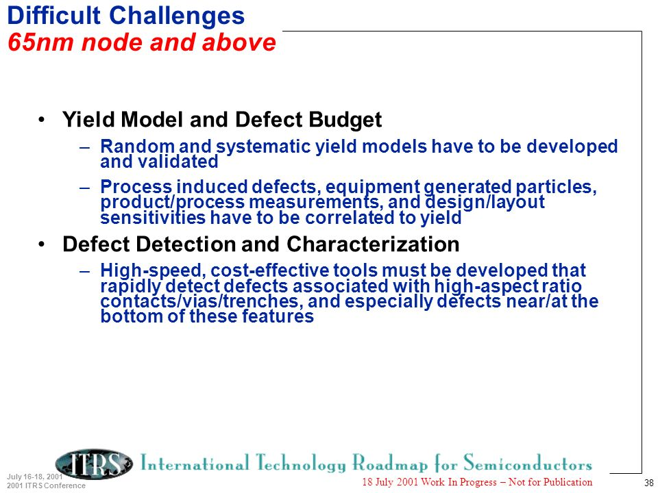 38 July 16-18, 2001 2001 ITRS Conference 18 July 2001 Work In Progress – Not for Publication Difficult Challenges 65nm node and above Yield Model and Defect Budget –Random and systematic yield models have to be developed and validated –Process induced defects, equipment generated particles, product/process measurements, and design/layout sensitivities have to be correlated to yield Defect Detection and Characterization –High-speed, cost-effective tools must be developed that rapidly detect defects associated with high-aspect ratio contacts/vias/trenches, and especially defects near/at the bottom of these features