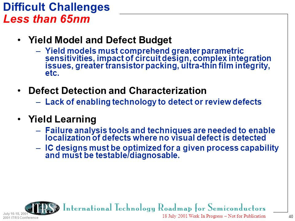 40 July 16-18, 2001 2001 ITRS Conference 18 July 2001 Work In Progress – Not for Publication Difficult Challenges Less than 65nm Yield Model and Defect Budget –Yield models must comprehend greater parametric sensitivities, impact of circuit design, complex integration issues, greater transistor packing, ultra-thin film integrity, etc.