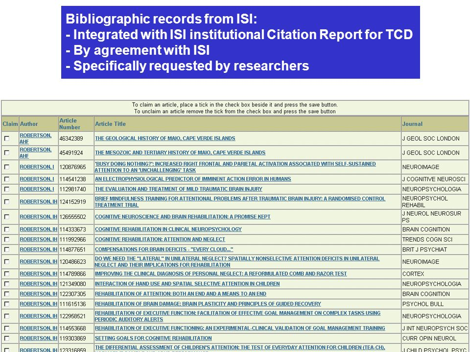 Bibliographic records from ISI: - Integrated with ISI institutional Citation Report for TCD - By agreement with ISI - Specifically requested by researchers