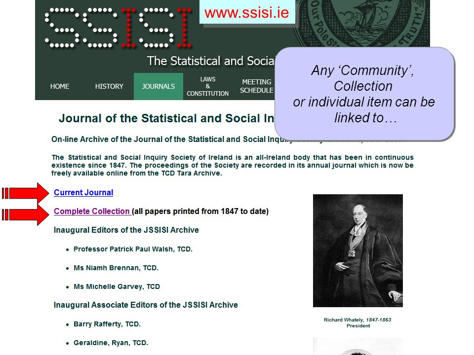 www.ssisi.ie Any Community, Collection or individual item can be linked to… Any Community, Collection or individual item can be linked to…