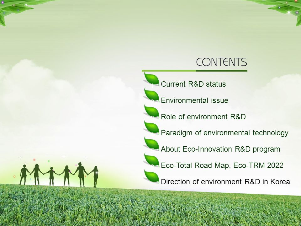 2 Current R&D status Environmental issue Role of environment R&D Paradigm of environmental technology About Eco-Innovation R&D program Eco-Total Road Map, Eco-TRM 2022 Direction of environment R&D in Korea 1 2 3 4 5 6