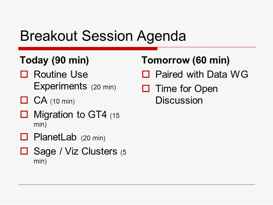 Breakout Session Agenda Today (90 min) Routine Use Experiments (20 min) CA (10 min) Migration to GT4 (15 min) PlanetLab (20 min) Sage / Viz Clusters (5 min) Tomorrow (60 min) Paired with Data WG Time for Open Discussion