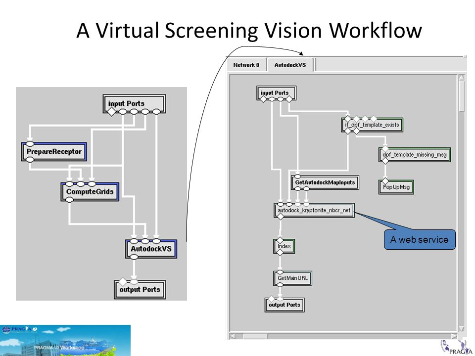 A Virtual Screening Vision Workflow A web service