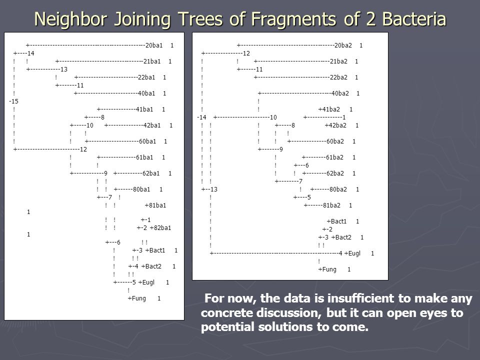 Neighbor Joining Trees of Fragments of 2 Bacteria +-----------------------------------------------20ba1 1 +----14 .