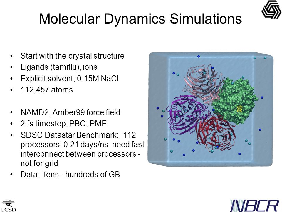Molecular Dynamics Simulations Start with the crystal structure Ligands (tamiflu), ions Explicit solvent, 0.15M NaCl 112,457 atoms NAMD2, Amber99 force field 2 fs timestep, PBC, PME SDSC Datastar Benchmark: 112 processors, 0.21 days/ns need fast interconnect between processors - not for grid Data: tens - hundreds of GB