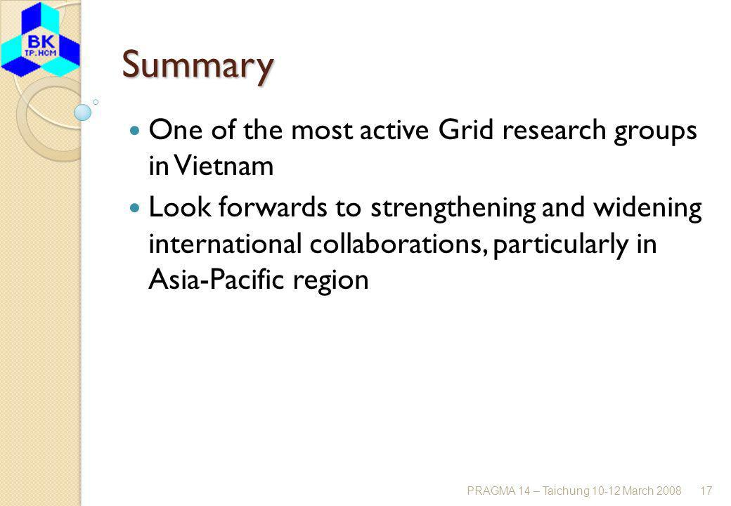 PRAGMA 14 – Taichung 10-12 March 200817 Summary One of the most active Grid research groups in Vietnam Look forwards to strengthening and widening international collaborations, particularly in Asia-Pacific region
