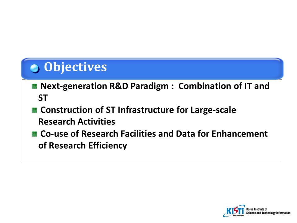 Next-generation R&D Paradigm : Combination of IT and ST Construction of ST Infrastructure for Large-scale Research Activities Co-use of Research Facilities and Data for Enhancement of Research Efficiency Objectives
