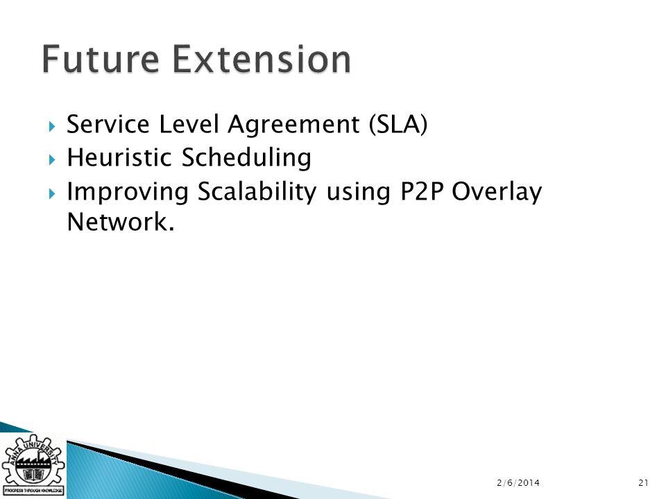 Service Level Agreement (SLA) Heuristic Scheduling Improving Scalability using P2P Overlay Network.