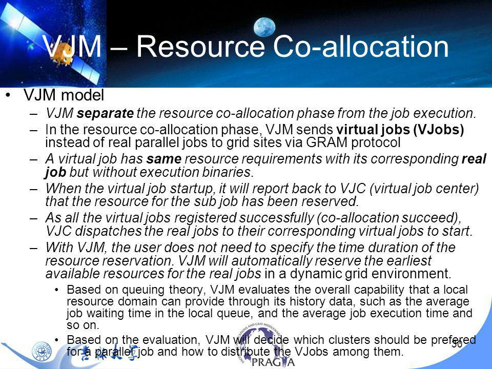 30 VJM – Resource Co-allocation VJM model –VJM separate the resource co-allocation phase from the job execution.