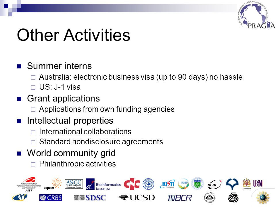 14 Other Activities Summer interns Australia: electronic business visa (up to 90 days) no hassle US: J-1 visa Grant applications Applications from own funding agencies Intellectual properties International collaborations Standard nondisclosure agreements World community grid Philanthropic activities